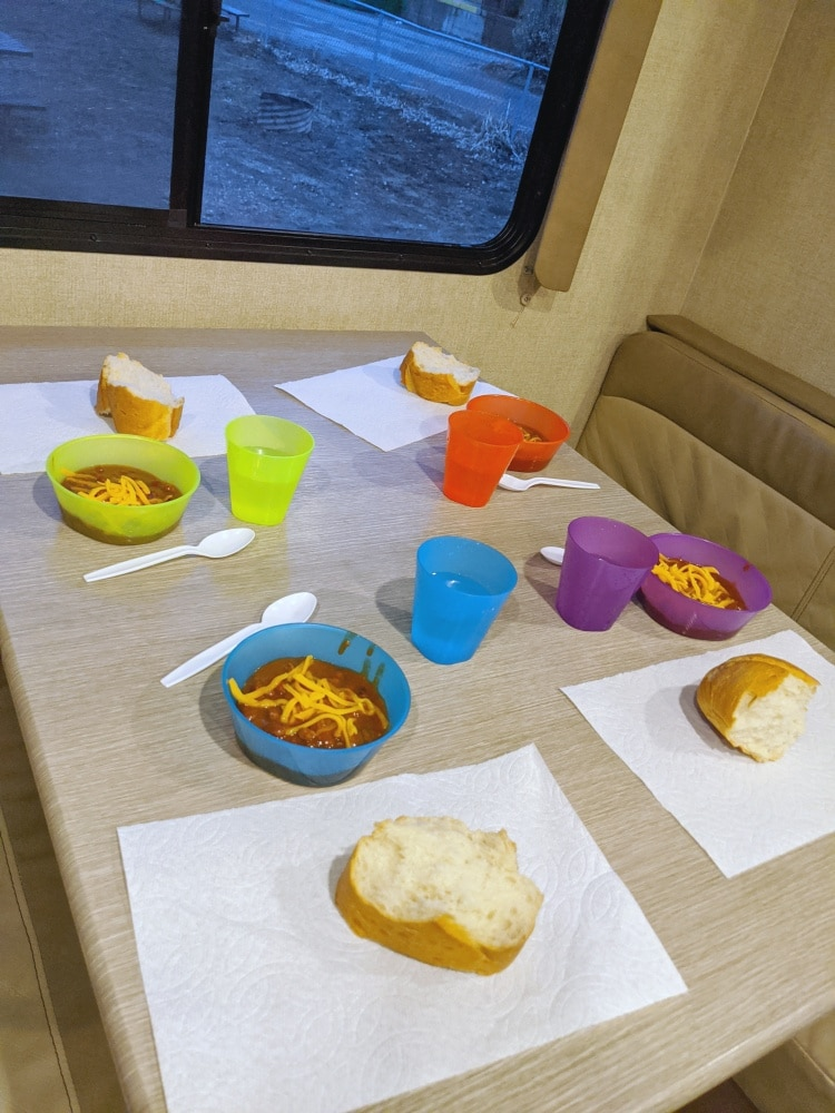 RV table set for dinner