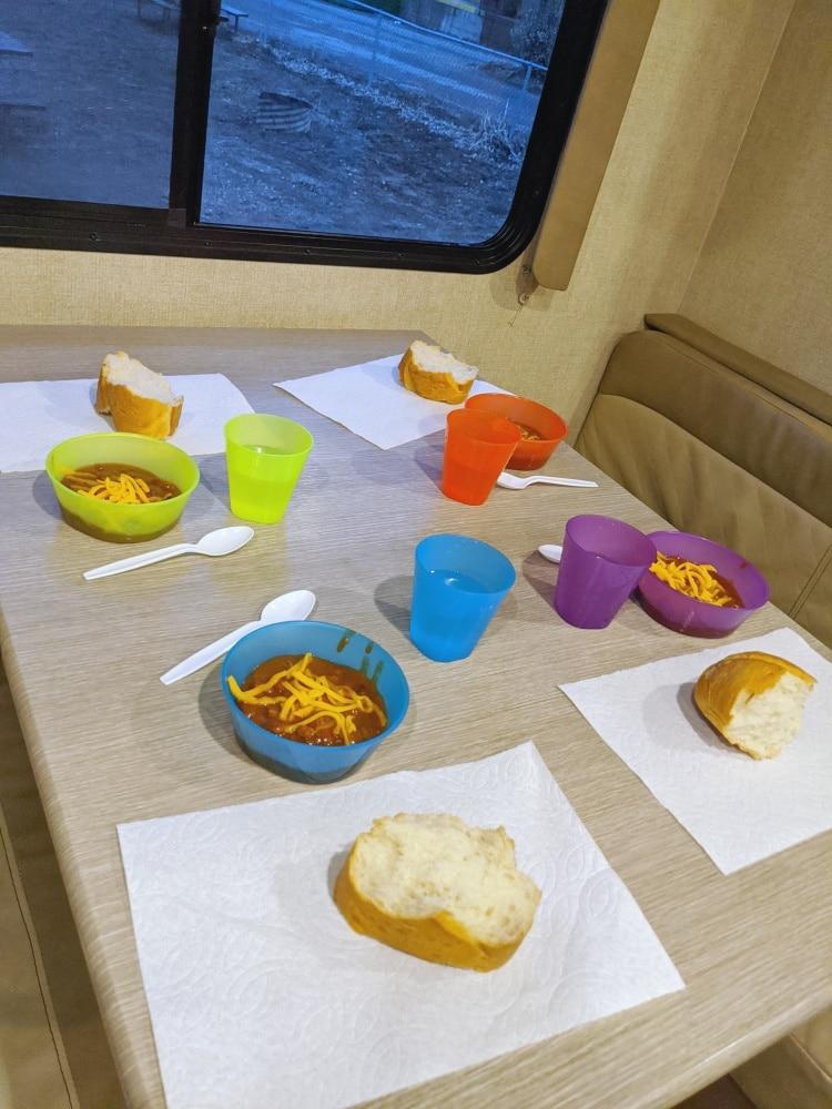 RV table set for dinner