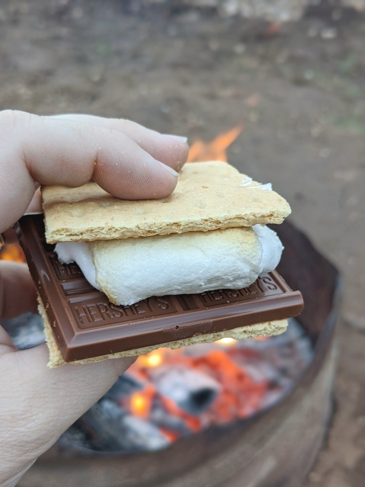smore by campfire