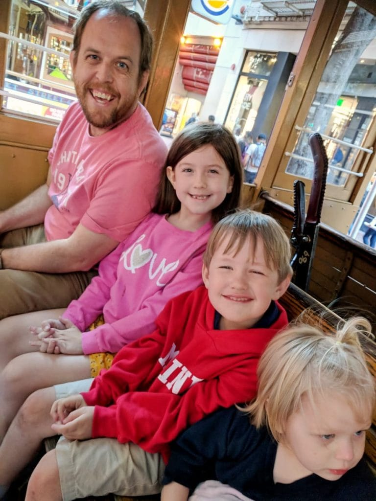 Dad and Kids on Cable Car