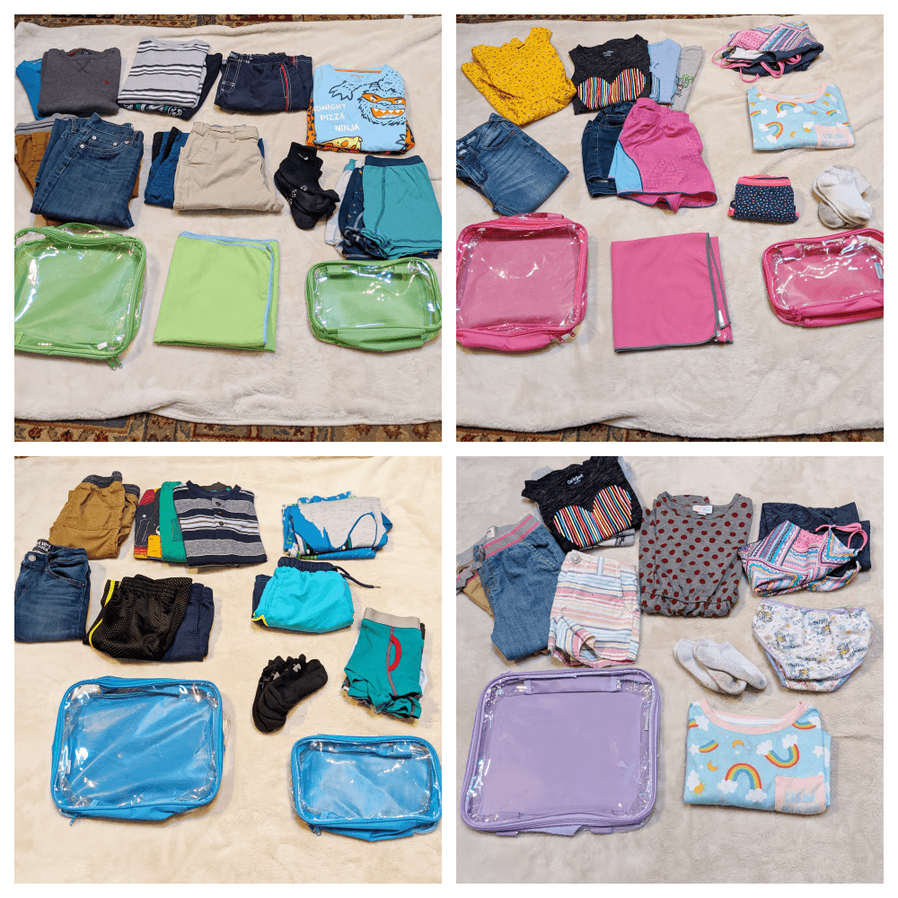 kids clothes and packing cubes