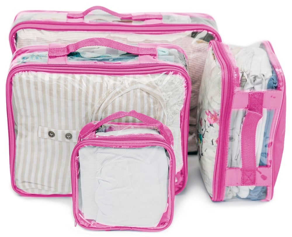 pink packing cube set