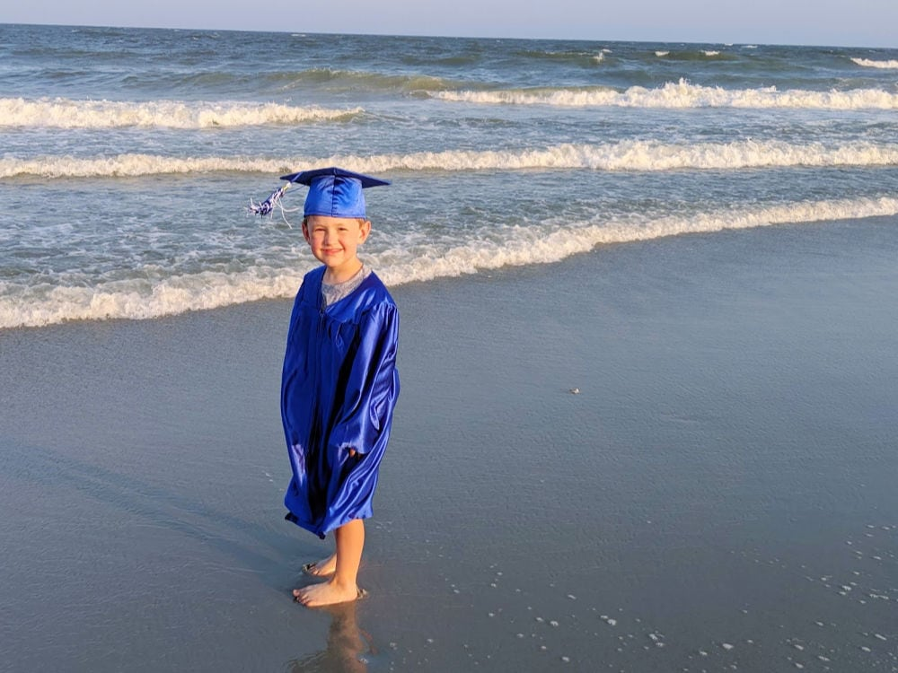 Kindergarten grad on the beach