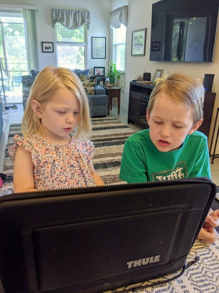 little kids on laptop